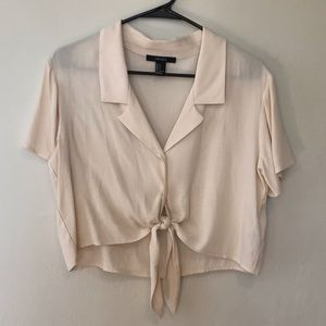 Cream Cropped Collar Shirt with Front Tie